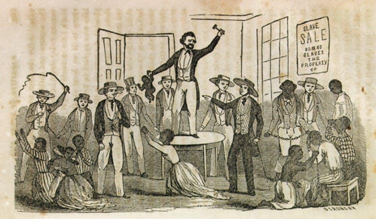 Subasta de esclavos. Ilustración de Narrative of the Life and Adventures of Henry Bibb, An American Slave, Written by Himself, 1815. Documenting the American South (DocSouth) - University of North Carolina at Chapel Hill