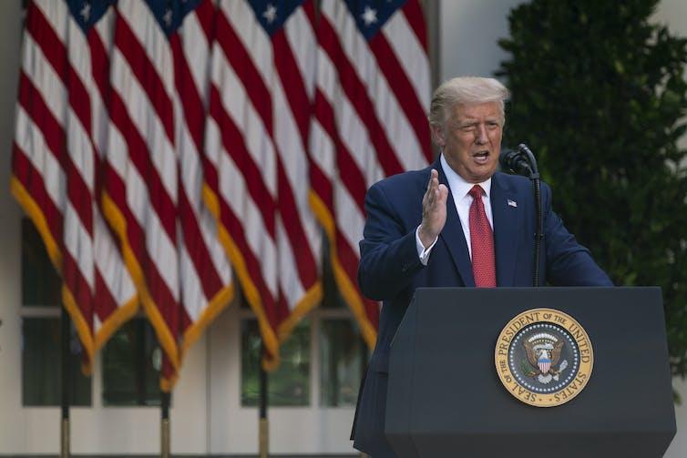US President Donald Trump addresses media in the White House Rose Garden.