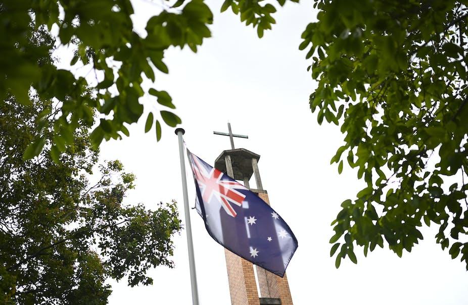 Australian flag flying in front of church