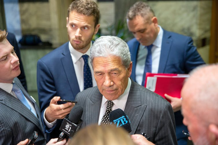 New Zealand First leader talking to reporters