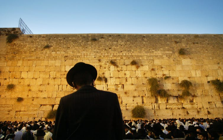 Orthodox Jewish man at Western Wall.