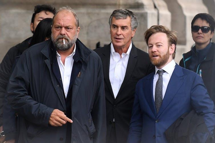 Jérome Cahuzac avec Eric Dupont-Moretti et Antoine Vey au procès