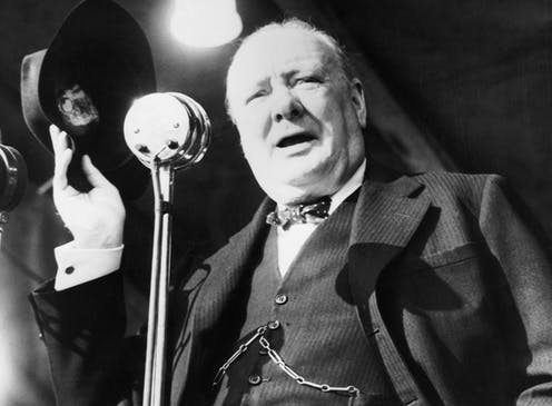 Photo of British Prime Minister Winston Churchill campaigning for election in 1945.
