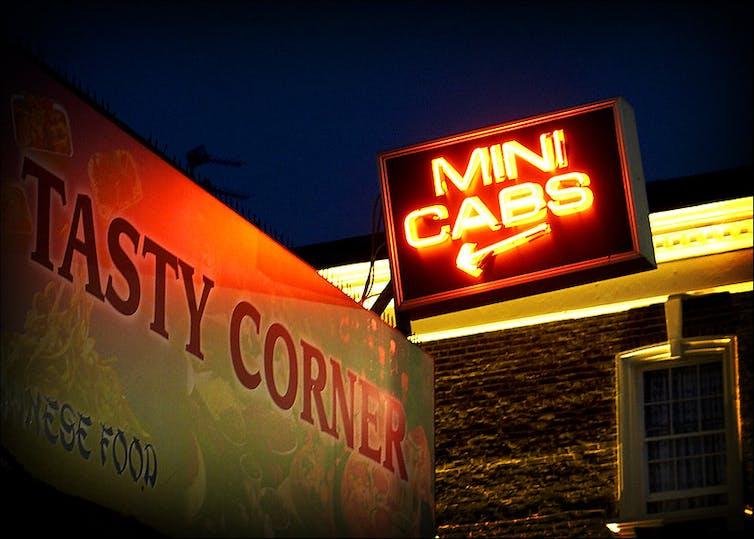 Neon minicab sign