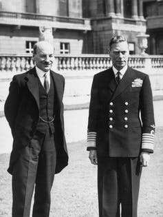 Incoming Prime Minister Clement Attlee meeting after his election win with King George VI at Buckingham Palace.