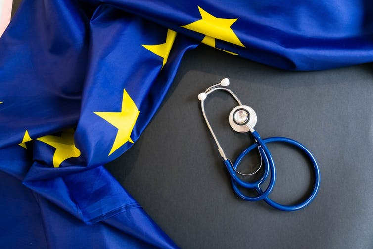 EU flag and stethoscope