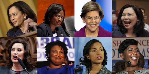 Kamala Harris, Val Demings, Elizabeth Warren, Tammy Duckworth, Gretchen Whitmer, Stacey Abrams, Susan Rice and Keisha Lance Bottoms, rumoured potential Biden Vice Presidents.
