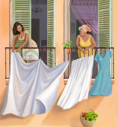 a painting of two women hanging laundry on a shared line outside their upper level apartment. One is a younger brunette, the other has grey hair in a kerchief.