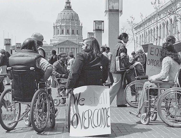 Protesters in San Francisco in 1977.
