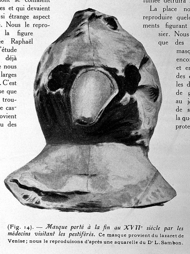 An excerpt from a textbook showing an image of a plague mask — which resembles a bird's head - from the 17th century.
