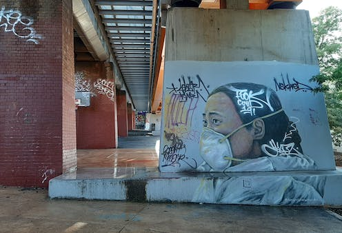 Mural on railway underpass in Northcote, Melbourne, depicting Ai Fen, the Wuhan doctor who was reprimanded for raising the alarm about COVID-19.