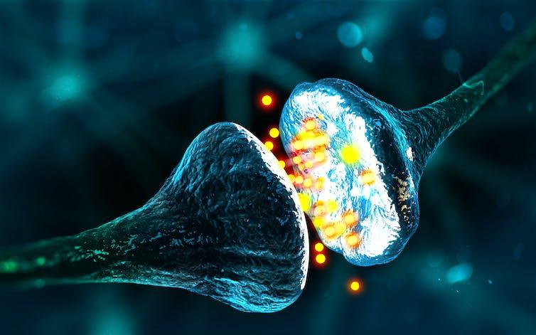 A synapse sending brain signals.