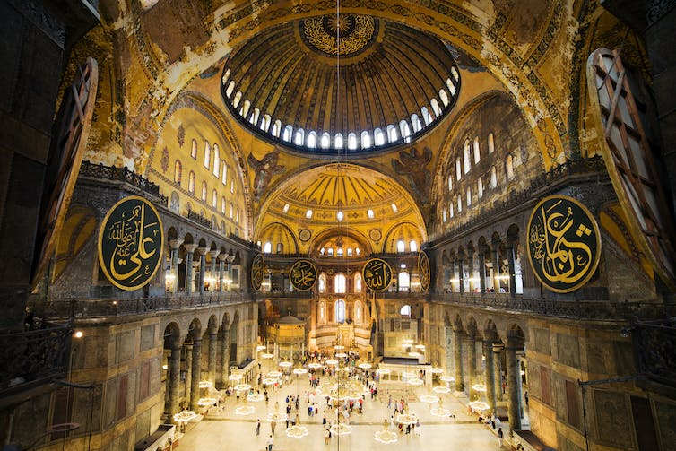 Domed interior of the Hagia Sophia