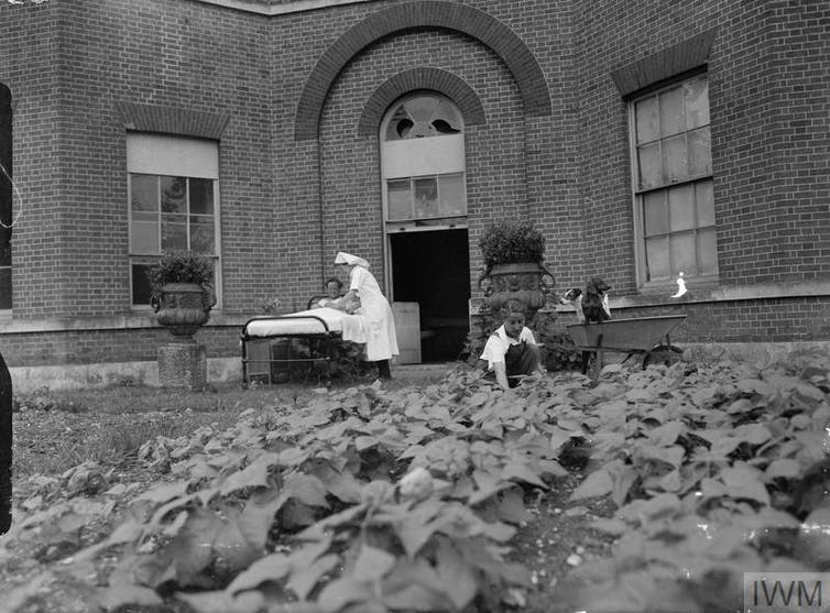 Historical image of maternity hospital grounds.