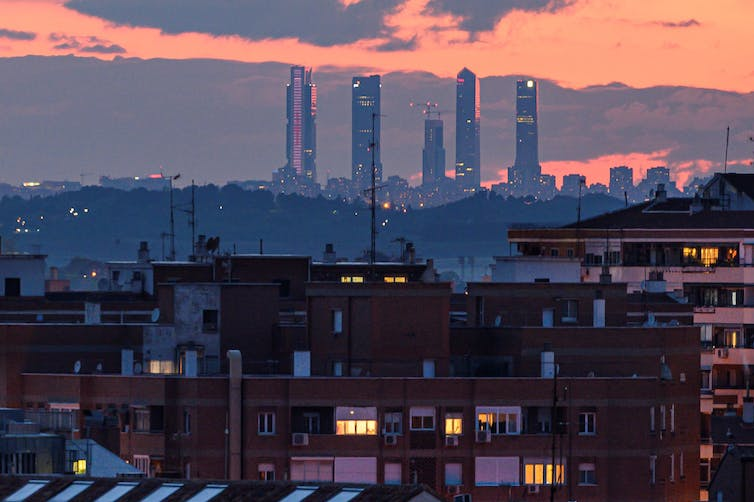 Skyline of Madrid, Spain, in the evening.