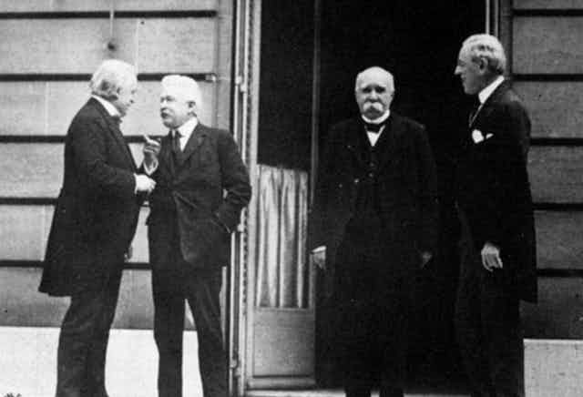On May 27, 1919, British Prime Minister Lloyd George, Italian President Vittorio Orlando, French Prime Minister Georges Clemenceau  and American President Woodrow Wilson met just before the Paris Peace Conference began.