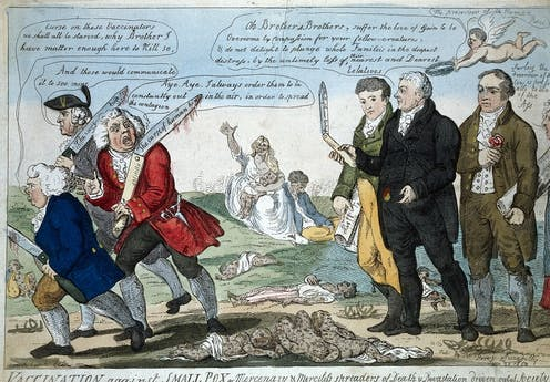 English physician and scientist, who was the pioneer of smallpox vaccine, Edward Jenner sees off the anti-vaccinators.