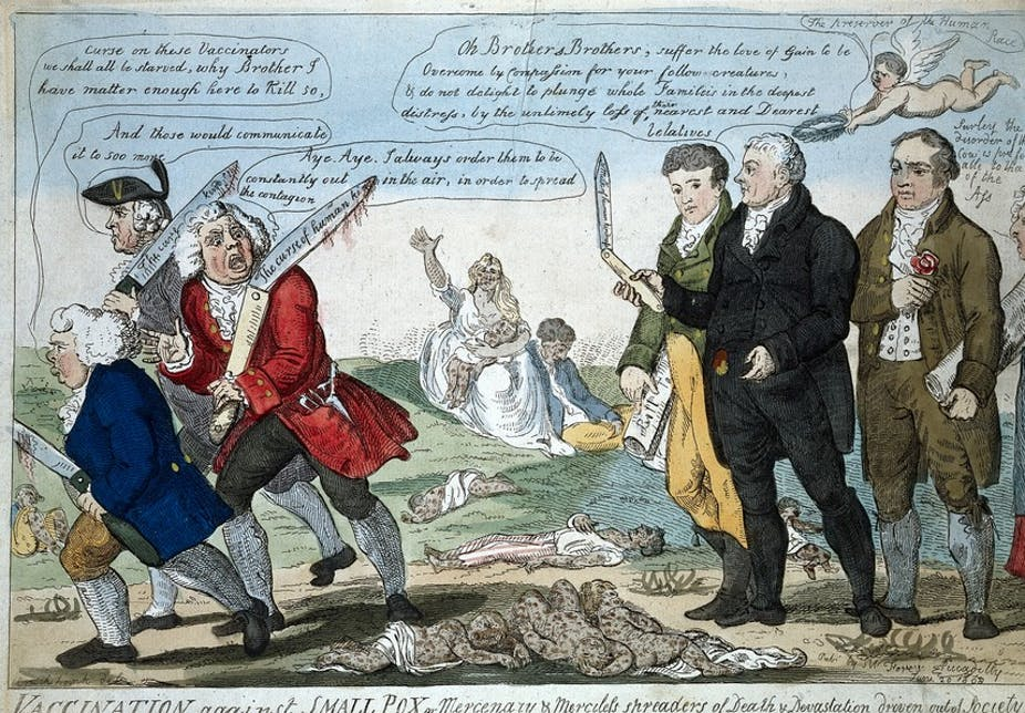Cartoon of scientists and anti-vaccination protestors arguing.