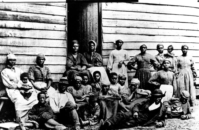 1860. Enslaved people on a South Carolina plantation.
