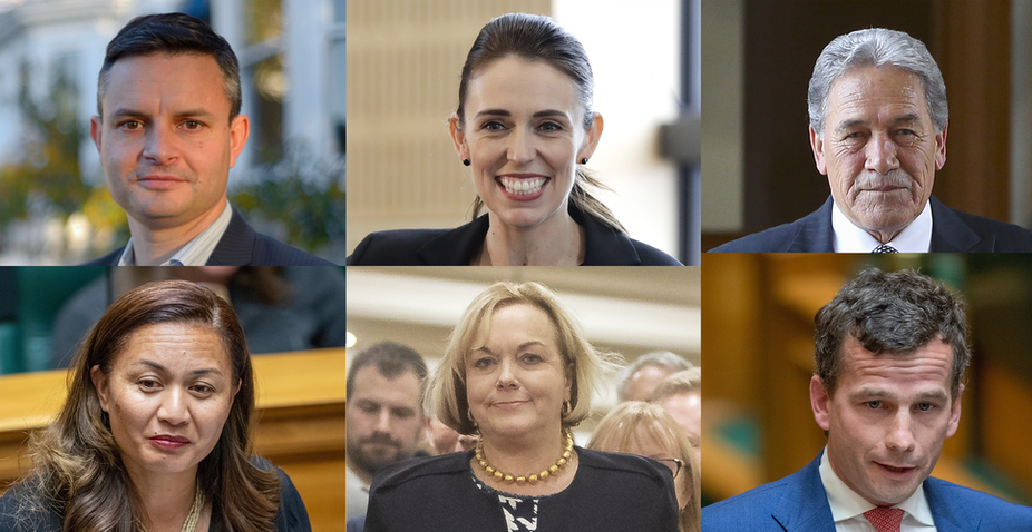 Greens co-leaders Marama Davidson and James Shaw, Labour's Jacinda Ardern, NZ First's Wilson Peters, ACT Party's David Seymour and National party's Judith Collins.