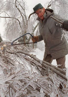 Older man wearing a parka and a hat using a bow saw to clear ice-covered fallen branches