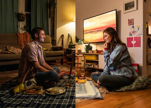 Split screen of two houses: a man and a woman look like they are picnicking together.