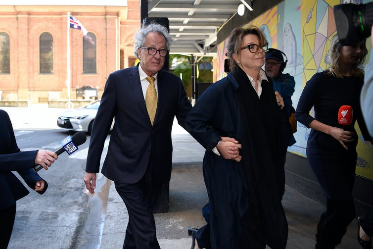 Actor Geoffrey Rush and his wife Jane Menelaus at the Federal Court.