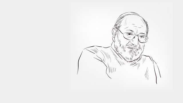 Retrato a carboncillo de Umberto Eco.