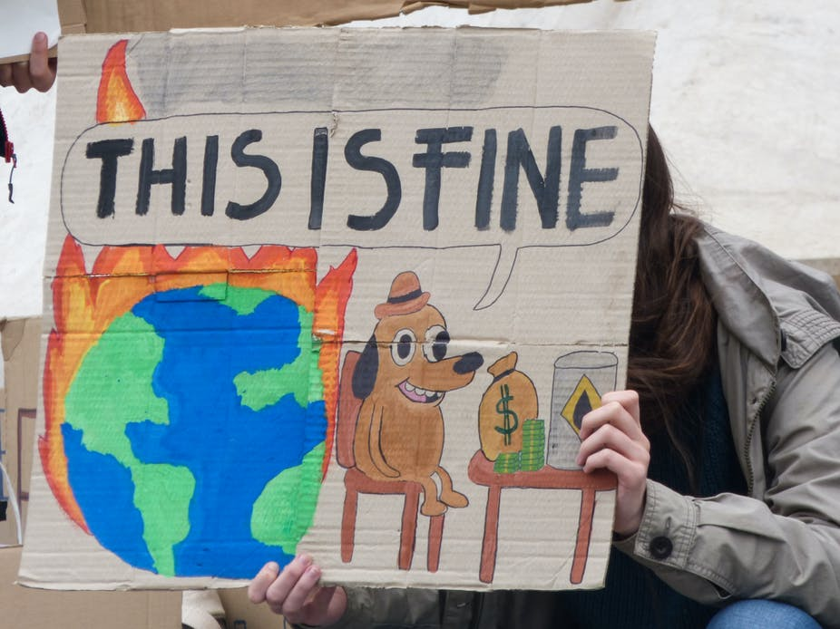 A protester holds a sign depicting a meme in which a cartoon dog is surrounded by fire and says 'this is fine'.