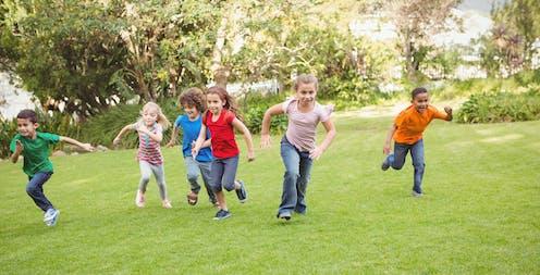 Children running outdoors
