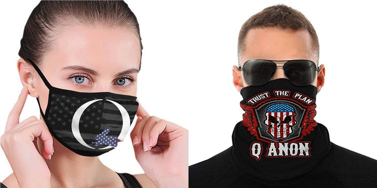 Qanon-themed masks available on Amazon.