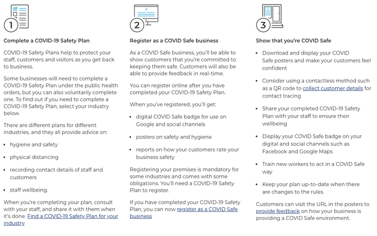 Screenshot of the steps to become a COVID Safe business.