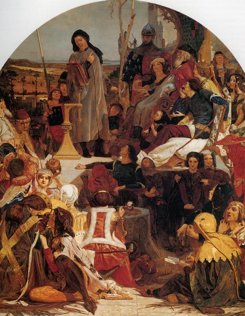 Medieval painting of poet Geoffrey Chaucer surrounded by others.