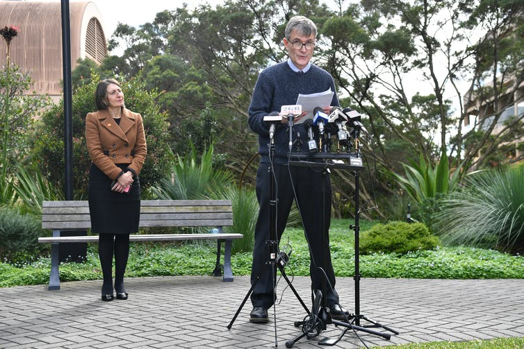 NSW Health's Dr Jeremy McAnulty and NSW Premier Gladys Berejiklian address reporters.