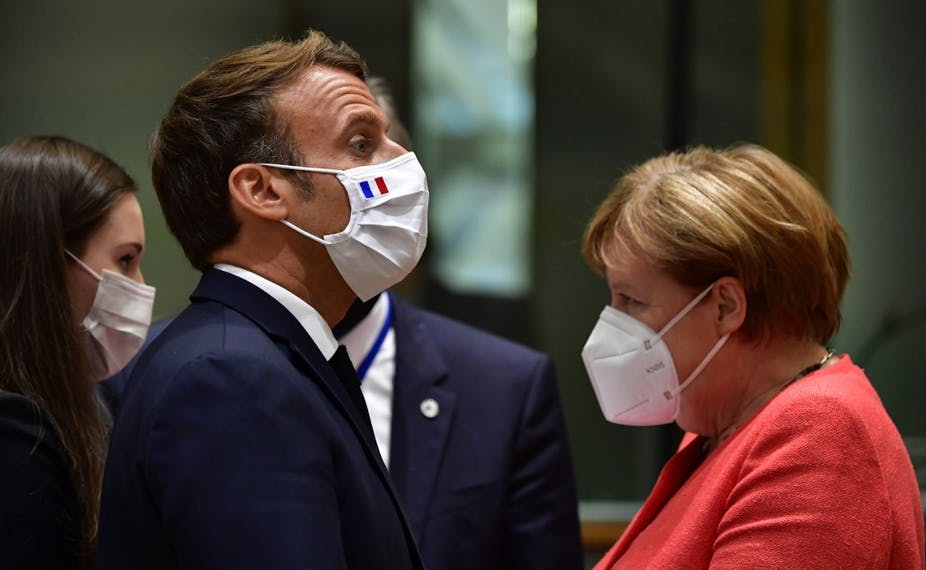 Emmanuel Macron et Angela Merkel à Bruxuelles le 20 juillet