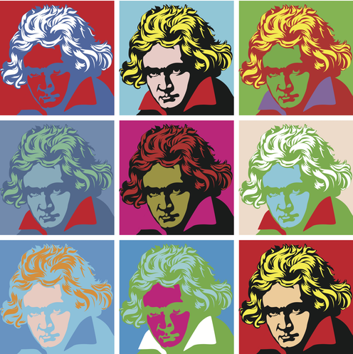 A multi-coloured pop art graphic representation of Beethoven.