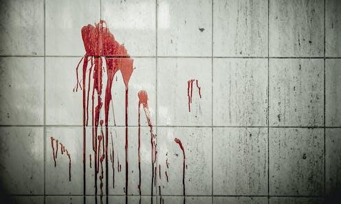 Manchas de sangre en pared de baldosas blancas.