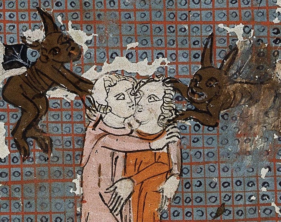 A 14th-century drawing depicts two demons possessing two lovers.