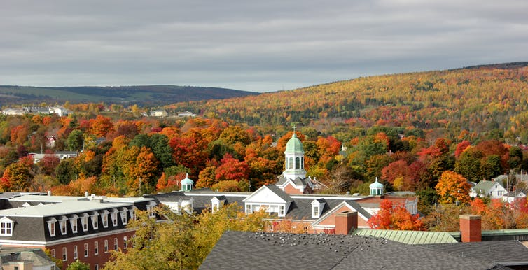 A domed church tower with orange and yellow fall foliage in the background.