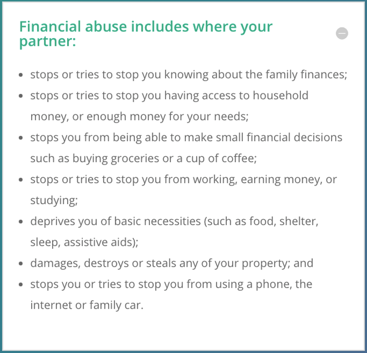 Description of financial abuse