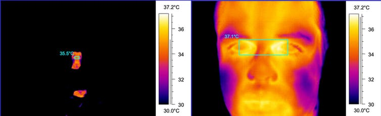 Comparison of two thermal images: one taken 600cm away and one taken 70cm away.
