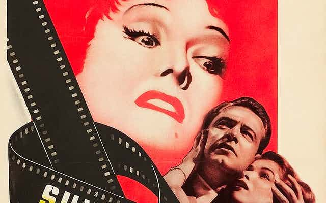Theatrical release poster for 'Sunset Boulevard' showing Gloria Swanson in role as Norma Desmond.