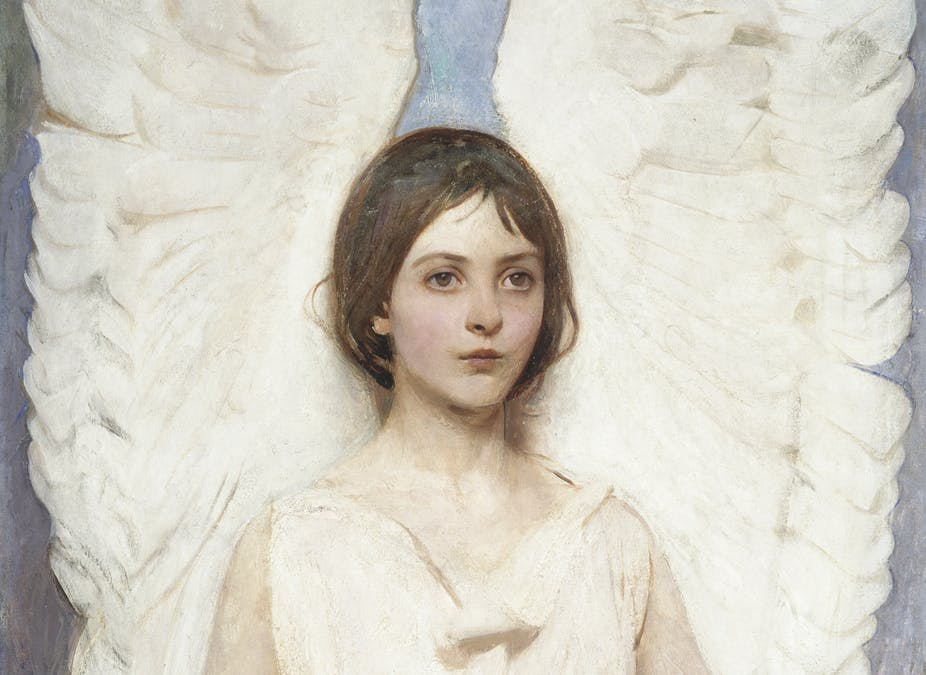 Abbott Thayer gives his eldest daughter angel wings in a painting.