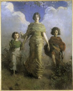 The artist painted his three children outdoors forging ahead vigorously.