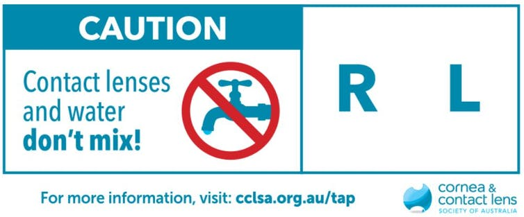 Sign warning contact lens users to avoid contact with water