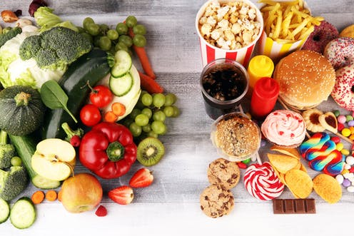 Healthy food next to junk food.