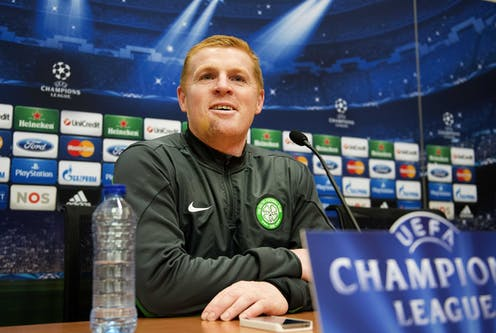 Neil Lennon Celtic manager in press conference ahead of Champions League game with Ajax in 2013