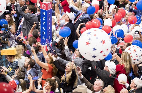 Delegates celebrating at convention after Trump accepted presidential nomination.