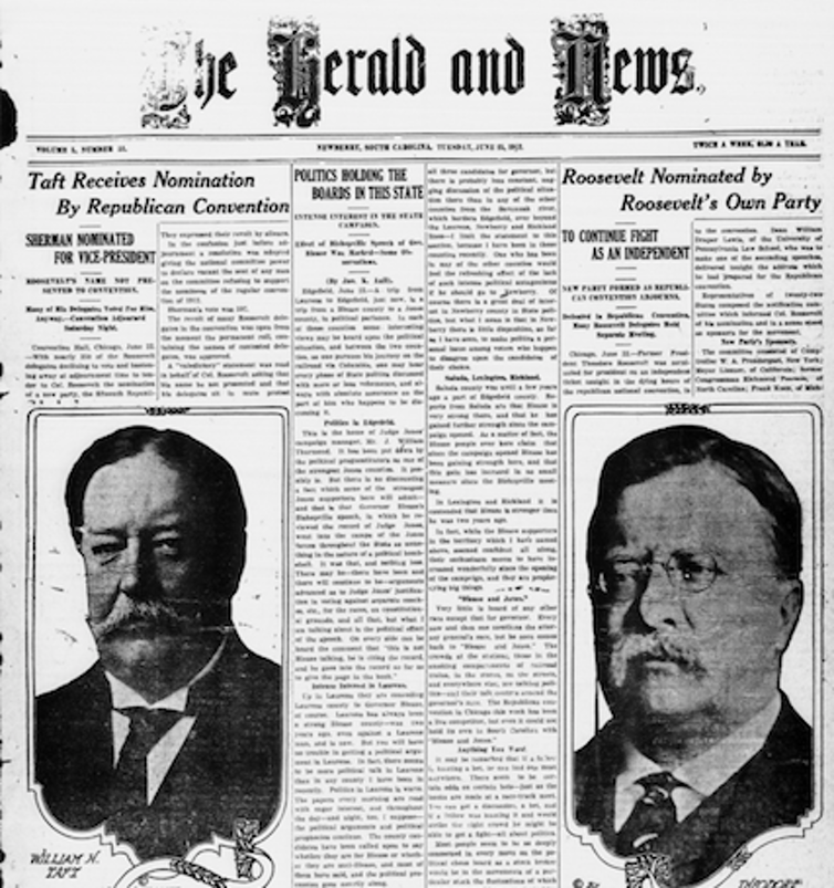 Newspaper with headlines announcing two nominees of a split GOP.