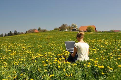 una chica de espaldas trabaja en un ordenador sentada en un campo primaveral con casas al fondo.